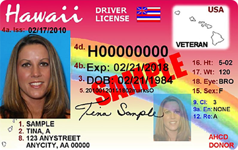 Example of a Hawaii driver's license